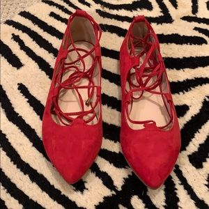 Faux suede red tie up flats